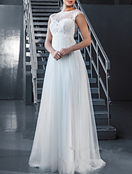 cheap -A-Line Wedding Dresses V Neck Floor Length Tulle Regular Straps Formal Plus Size with Appliques 2020