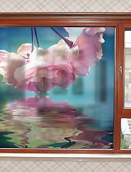 Недорогие -Большие розовые цветы шаблон матовая оконная пленка цеплять винил теплоизоляция защита частной жизни домашнего декора для окна двери шкафа стикер / наклейка окна