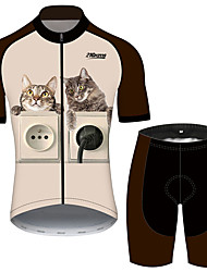cheap -21Grams Women's Short Sleeve Cycling Jersey with Shorts Brown+Gray Cat Animal Bike Clothing Suit Breathable 3D Pad Quick Dry Ultraviolet Resistant Reflective Strips Sports Cat Mountain Bike MTB Road