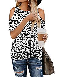 cheap -Women's Daily Basic Blouse - Leopard Cut Out Black