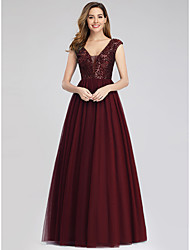 cheap -A-Line Elegant Empire Wedding Guest Engagement Prom Dress V Neck Short Sleeve Floor Length Tulle Sequined with Sequin 2020