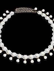 abordables -Danseur Danse du ventre Bal Masqué Oriental Perle Alliage Blanche Colliers décoratif