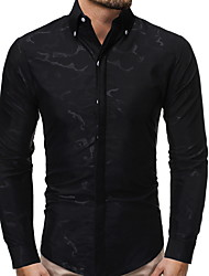 cheap -Men's Daily Shirt - Solid Colored Black / Long Sleeve / Spring / Fall / Button Down Collar
