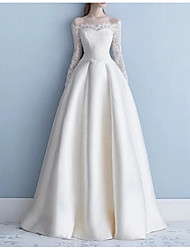 cheap -A-Line Off Shoulder Sweep / Brush Train Lace Long Sleeve Formal Plus Size Wedding Dresses with Draping / Lace Insert 2020
