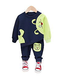 cheap -Baby Boys' Basic Color Block / Patchwork Embroidered / Patchwork Long Sleeve Long Regular Clothing Set Royal Blue