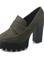 cheap -Women's Boots Chunky Heel Round Toe Suede Booties / Ankle Boots Winter Black / Army Green