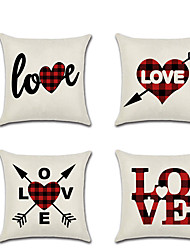 cheap -Set of 4 Linen Pillow Cover  Lovers Wedding Valentine's Day Throw Pillow  45*45 cm