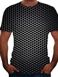 cheap -Men's Plus Size Geometric 3D T-shirt Basic Daily Weekend Round Neck Black / Purple / Gold / Royal Blue / Silver / Light Green / Light Blue / Short Sleeve