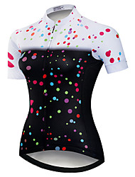 cheap -21Grams Women's Short Sleeve Cycling Jersey 100% Polyester Black / White Polka Dot Bike Jersey Top Mountain Bike MTB Road Bike Cycling UV Resistant Breathable Quick Dry Sports Clothing Apparel