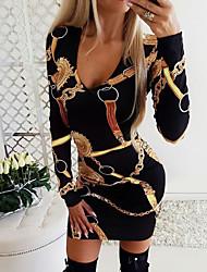 cheap -Women's Daily Wear Basic Bodycon Dress - Geometric Black Wine Purple S M L XL