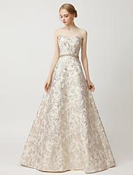 cheap -A-Line Beautiful Back Luxurious Wedding Guest Formal Evening Dress Sweetheart Neckline Sleeveless Floor Length Satin with Sash / Ribbon Beading 2021