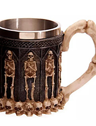 cheap -3D Skull Drinking Mug Resin Stainless Steel Horror Crypt Tankard Geek Skull Cup Home Office Coffee Cup Gift Halloween