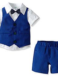 cheap -Kids Boys' Basic Christmas Home Solid Colored Print Sleeveless Long Sleeve Regular Regular Clothing Set White