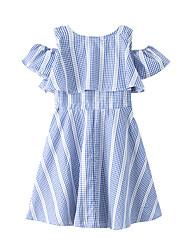 cheap -Kids Girls' Active Cute Check Ruffle Short Sleeve Above Knee Dress Blue