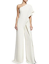 cheap -Jumpsuits One Shoulder Floor Length Polyester Short Sleeve Romantic Plus Size / Modern Wedding Dresses with 2020