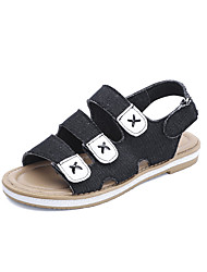 cheap -Women's Sandals Low Heel Round Toe Denim Casual Summer Black / Blue / Dark Blue