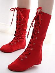 cheap -Women's Jazz Shoes Canvas Heel Flat Heel Dance Shoes Black