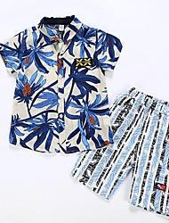 cheap -Kids Boys' Basic Floral Short Sleeve Clothing Set Blue