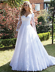 cheap -A-Line V Neck Court Train Lace Long Sleeve Country Made-To-Measure Wedding Dresses with 2020 / Bishop Sleeve