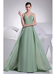 cheap -A-Line Sparkle Formal Evening Dress Spaghetti Strap Sleeveless Floor Length Chiffon with Beading 2021