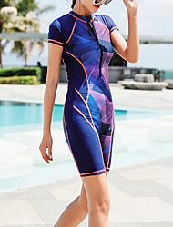 cheap -Women's Rash Guard Dive Skin Suit Elastane Swimwear Bodysuit Breathable Quick Dry Short Sleeve Front Zip - Swimming Diving Surfing Painting Summer / Stretchy / High Waist