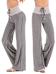 cheap -Women's High Waist Yoga Pants Wide Leg Drawstring Pants / Trousers Breathable Quick Dry Stripes Black Red Orange Cotton Gym Workout Dance Fitness Sports Activewear Loose