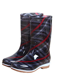 cheap -Women's Boots Low Heel Round Toe PVC Mid-Calf Boots Spring &  Fall Black / Purple