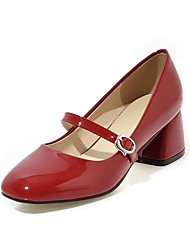 cheap -Women's Heels Chunky Heel Round Toe Buckle Patent Leather Sweet / Minimalism Spring &  Fall Black / White / Red / Wedding / Party & Evening