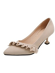 cheap -Women's Heels Kitten Heel Pointed Toe Stitching Lace Synthetics Spring &  Fall Black / Beige