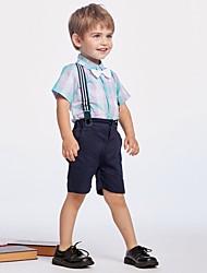 cheap -Kids Boys' Basic Plaid Short Sleeve Clothing Set Light Blue