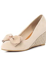 cheap -Women's Heels Wedge Heel Round Toe Pearl Suede Casual / Minimalism Spring & Summer Black / Pink / Beige