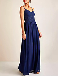 cheap -A-Line Minimalist Blue Holiday Prom Dress V Neck Sleeveless Floor Length Chiffon Lace with Pleats 2020
