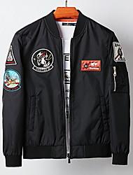 cheap -Men's Daily Fall & Winter Regular Jacket, Geometric Stand Long Sleeve Polyester Black / Blue / Green