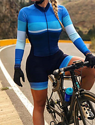 cheap -21Grams Women's Long Sleeve Triathlon Tri Suit Spandex Polyester Blue Bike Clothing Suit Thermal / Warm UV Resistant Breathable Quick Dry Sweat-wicking Sports Horizontal Stripes Mountain Bike MTB