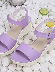 cheap -Women's Sandals Wedge Sandals Spring & Summer Wedge Heel Peep Toe Daily PU Purple / Pink / Blue