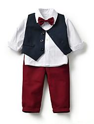 cheap -Kids Toddler Boys' Basic Birthday Party Party & Evening Black & White Solid Colored Print Sleeveless Long Sleeve Regular Regular Clothing Set White
