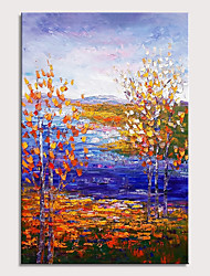 cheap -Oil Painting Hand Painted - Abstract Landscape Pop Art Modern Stretched Canvas