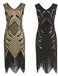 cheap -The Great Gatsby Retro Vintage 1920s Summer Flapper Dress Dress Women's Sequins Tassel Fringe Sequin Costume Black / Golden Vintage Cosplay Event / Party Sleeveless Knee Length