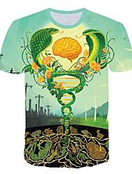 お買い得  -男性用 3D プリント スリム Tシャツ 日常 ラウンドネック グリーン / 半袖