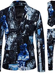 cheap -Men's Suits Notch Lapel Polyester Blue
