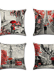 cheap -Set of 4 Linen Pillow Cover Lovers Wedding Romantic Valentine's Day Throw Pillow