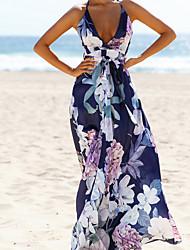 cheap -Women's Elegant Swing Dress - Geometric Blue S M L XL