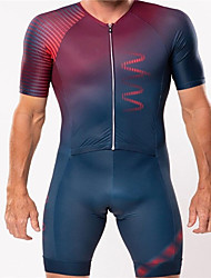 cheap -21Grams Men's Short Sleeve Triathlon Tri Suit Red+Blue Gradient Bike Clothing Suit UV Resistant Breathable Quick Dry Sweat-wicking Sports Gradient Mountain Bike MTB Road Bike Cycling Clothing Apparel