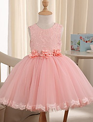 cheap -Princess Knee Length Pageant Flower Girl Dresses - Polyester Sleeveless Jewel Neck with Beading