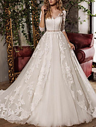 cheap -A-Line V Neck Sweep / Brush Train Tulle 3/4 Length Sleeve Formal Plus Size / Illusion Sleeve Wedding Dresses with Appliques 2020
