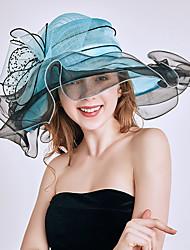 Недорогие -Королева Елизавета Одри Хепберн Ретро Кентукки шляпа дерби Шляпа чародея Жен. органза Костюм шляпа Белый / Оранжевый / Бордовый Винтаж Косплей Для вечеринок Вечерние / Шапки / Шапки