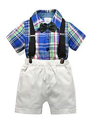 cheap -Kids Boys' Basic Christmas Home Plaid Print Short Sleeve Regular Regular Clothing Set Blue