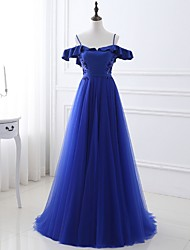 cheap -A-Line Blue Spring Prom Formal Evening Dress Spaghetti Strap Short Sleeve Sweep / Brush Train Polyester with Crystals Ruffles 2020