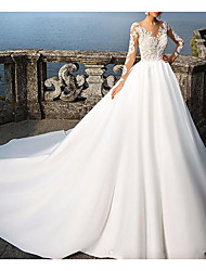 cheap -A-Line Wedding Dresses V Neck Sweep / Brush Train Satin Long Sleeve Formal Plus Size Illusion Sleeve with Appliques 2020