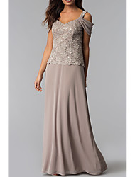 cheap -Sheath / Column V Neck Floor Length Chiffon / Lace Sleeveless Sexy Mother of the Bride Dress with Criss Cross 2020